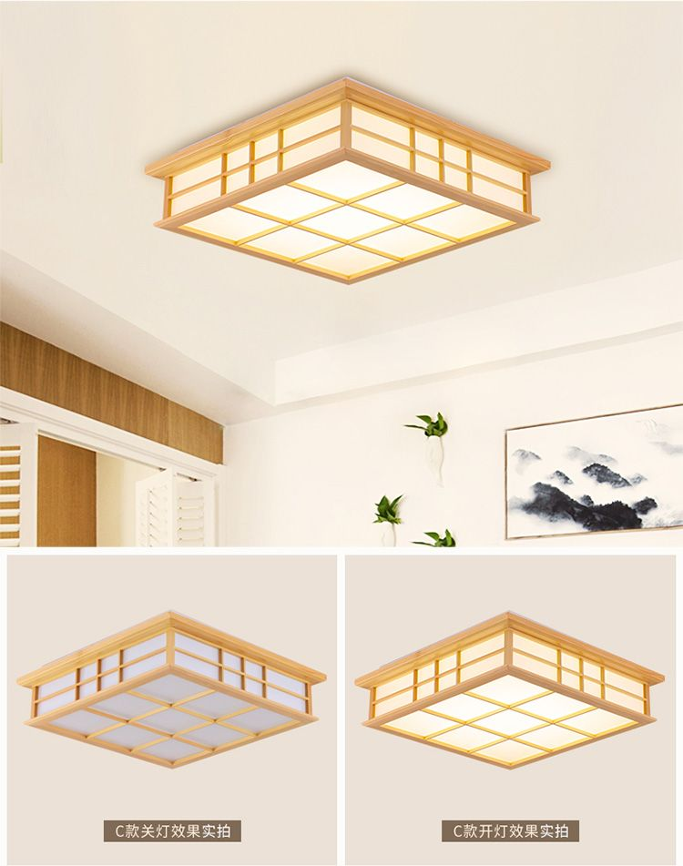 Japanese Style Wooden Bedroom Led Ceiling Lamp Creative Wood Tatami Restaurant Lighting Personalized Living Roo Japanese Home Design Wooden Bedroom Study Lamps