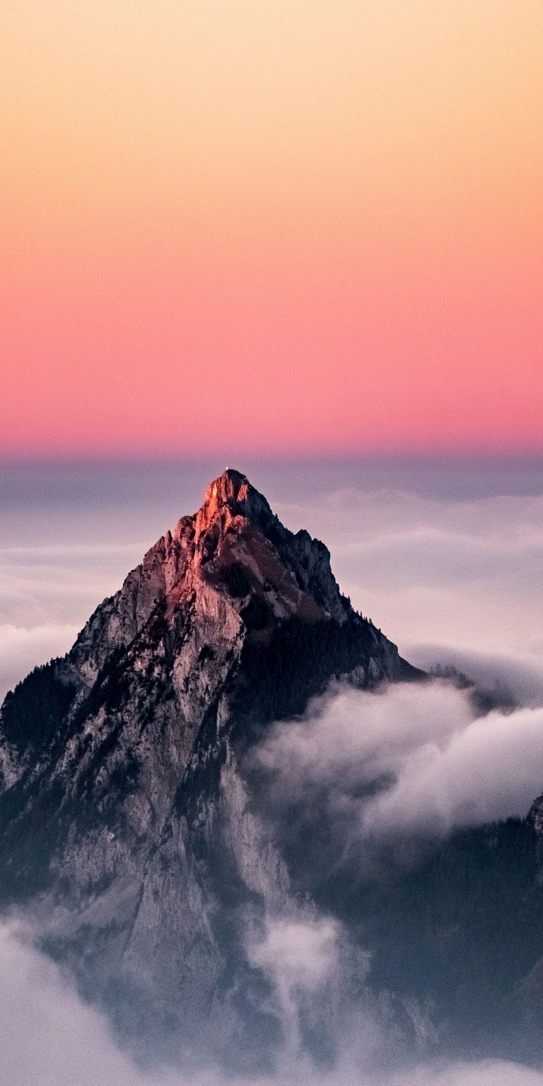 Sunset Clouds Peak Nature Switzerland 1080x2160
