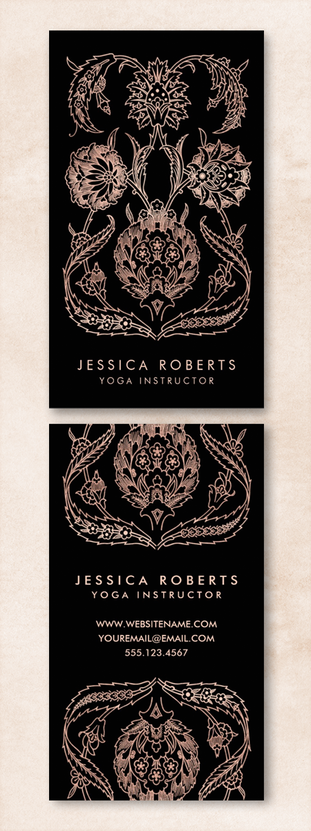 These trendy faux rose gold and black business cards were inspired ...