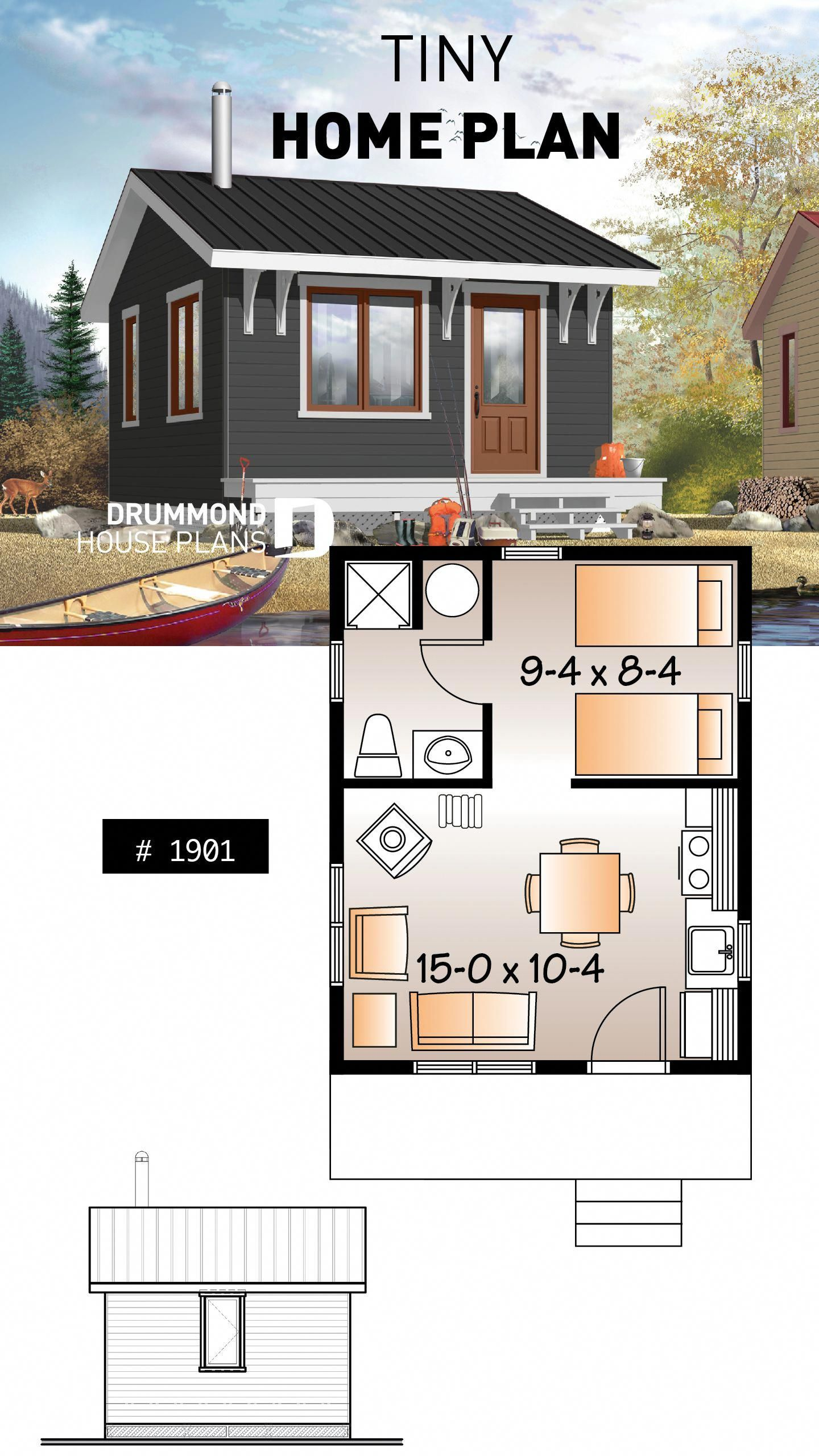 Small 1 Bedroom Cabin Plan 1 Shower Room Options For 3 Or 4 Season Included Wood Stove Inhomedeco Tiny House Cabin Tiny House Floor Plans Small Cabin Plans