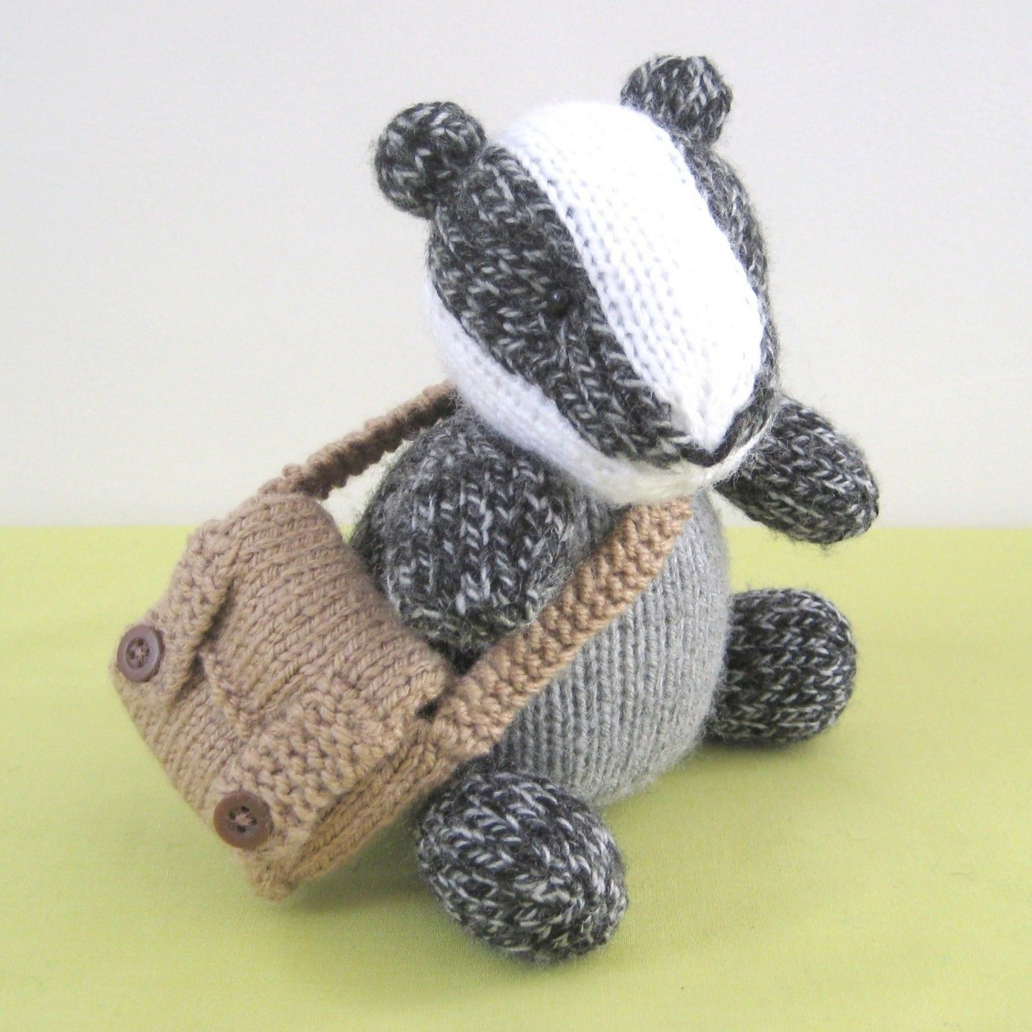 Brompton Badger Toy Knitting Pattern Knitting Patterns Toy And