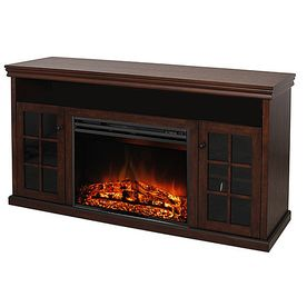 Lowes $399.00  Style Selections?56.6-in Walnut Flat Wall Electric Fireplace  Assembled Height (Inches) 	29.3 Assembled Width (Inches) 	56.6 Assembled Depth (Inches) 	16.6