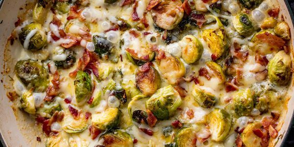 Bacon Brussels Sprouts Spaghetti #smashedbrusselsprouts