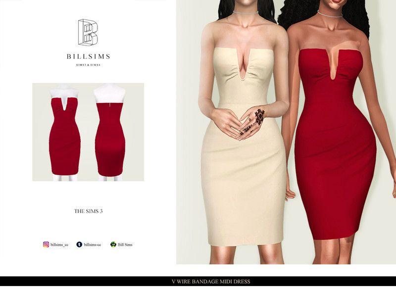 Bill Sims' V Wire Bandage Midi Dress