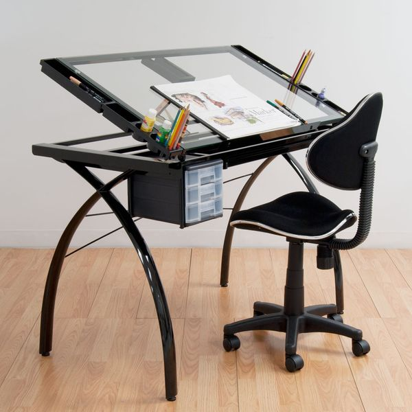 Studio Designs Futura Black/Clear Glass Drafting and Hobby ...