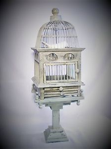 Antique Vintage Style Dome Top Victorian Wood Wire Bird Cage Birdcage