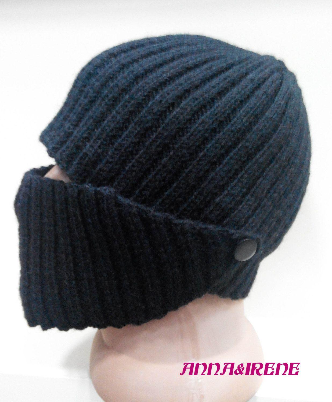 Crochet woolen beanie black hat / men's crochet hat / knitted hat / cold severe weather hat / black hat / multifunctional hat/ birthday gift #menscrochetedhats