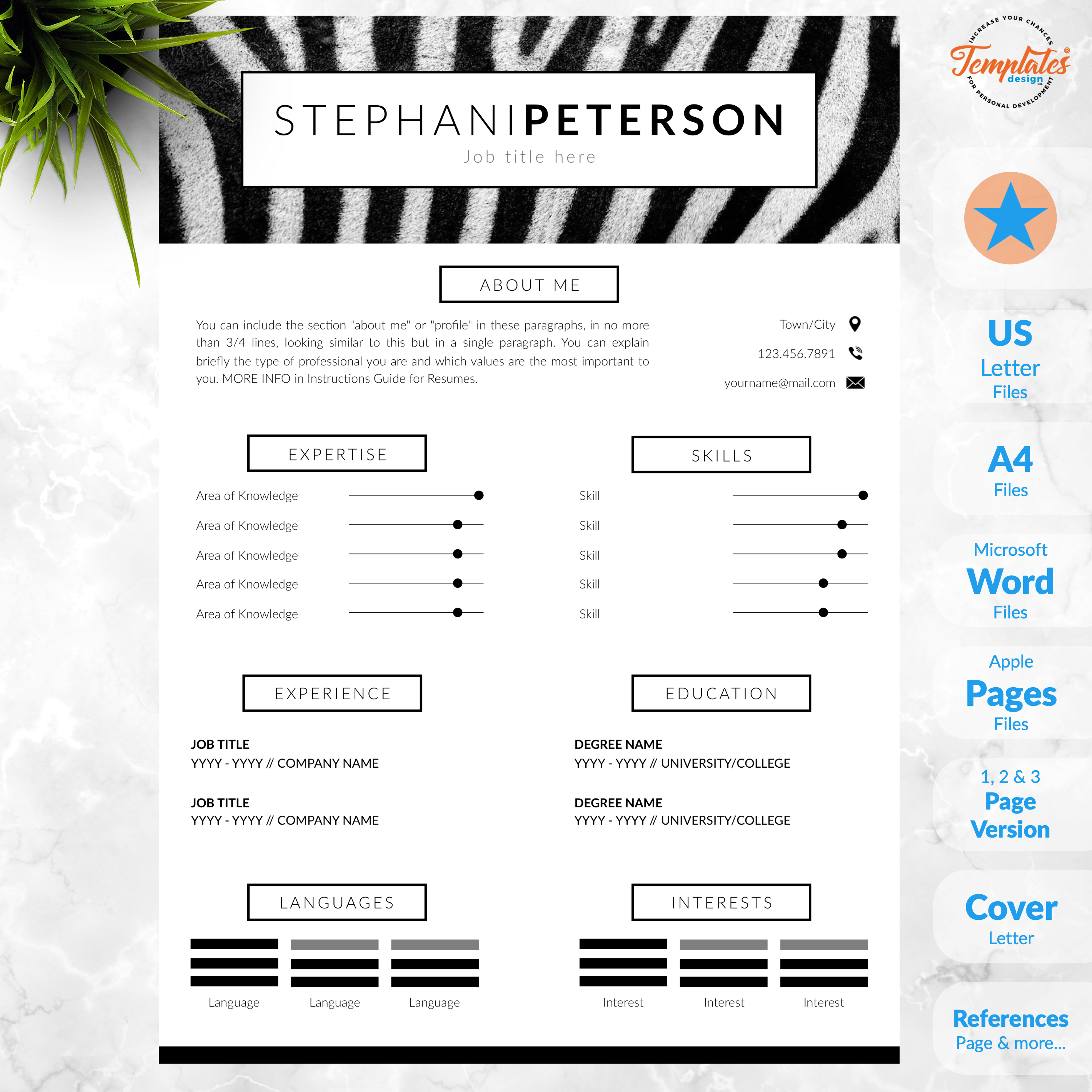 Animal Care Resume Cv Template For Word Pages Creative Etsy