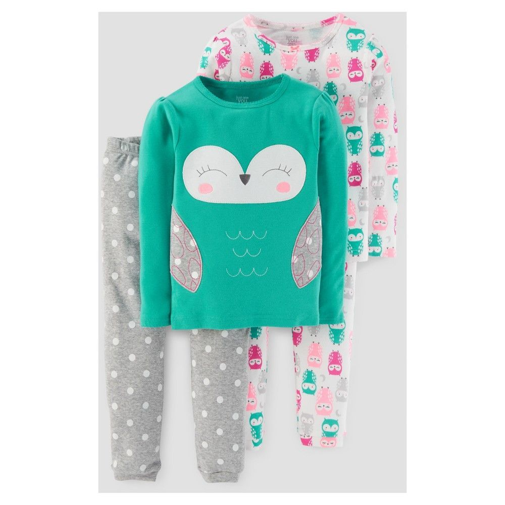 3a00ea995 Baby Girls  4pc Long Sleeve Owl Polka Dots Pajama Set - Just One You ...