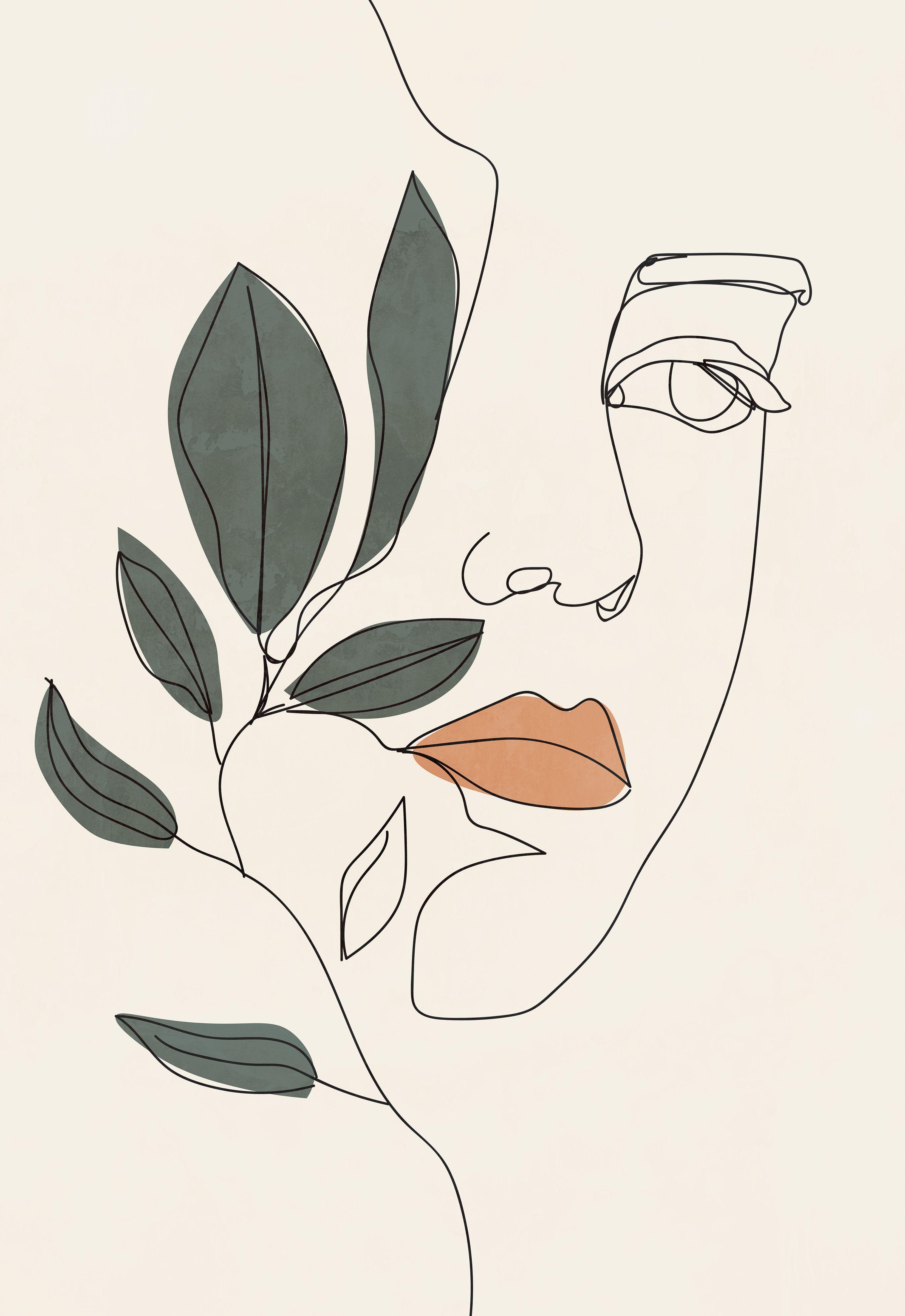 Modern woman line drawing printable wall art, plant poster, flower sketch print, minimalist wall art, bedroom wall decor