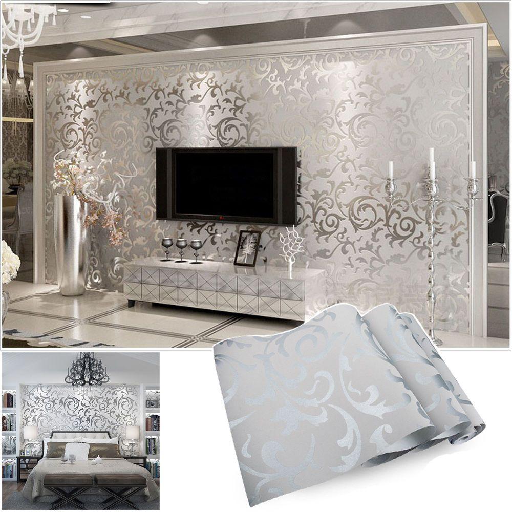 Dekor Tapetenrollen Wohnzimmer TV-Hintergrund Floral Geprägt 3D Strukturiert