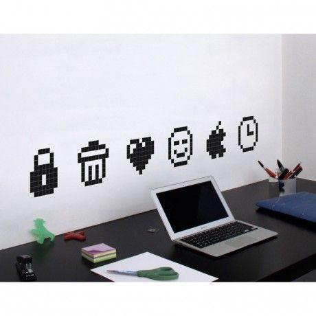 stickers icons pour les murs des bureaux d co bureaux geek pixels black trouv sur. Black Bedroom Furniture Sets. Home Design Ideas