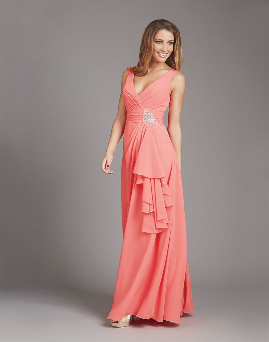 Allure dress vneck beaded accent cascading ruffle allure