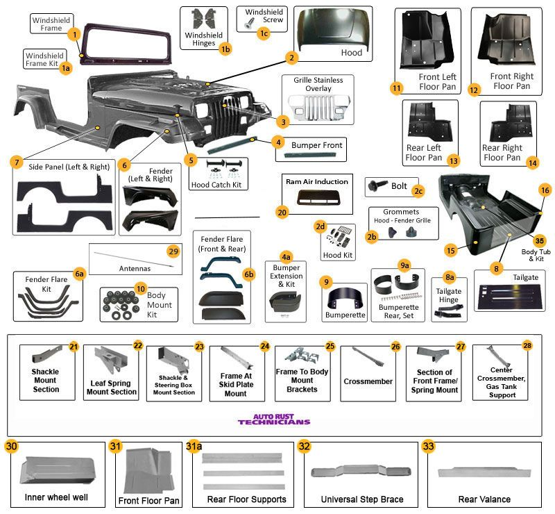 Body Parts for Wrangler YJ   Jeep YJ Parts Diagrams   Jeep