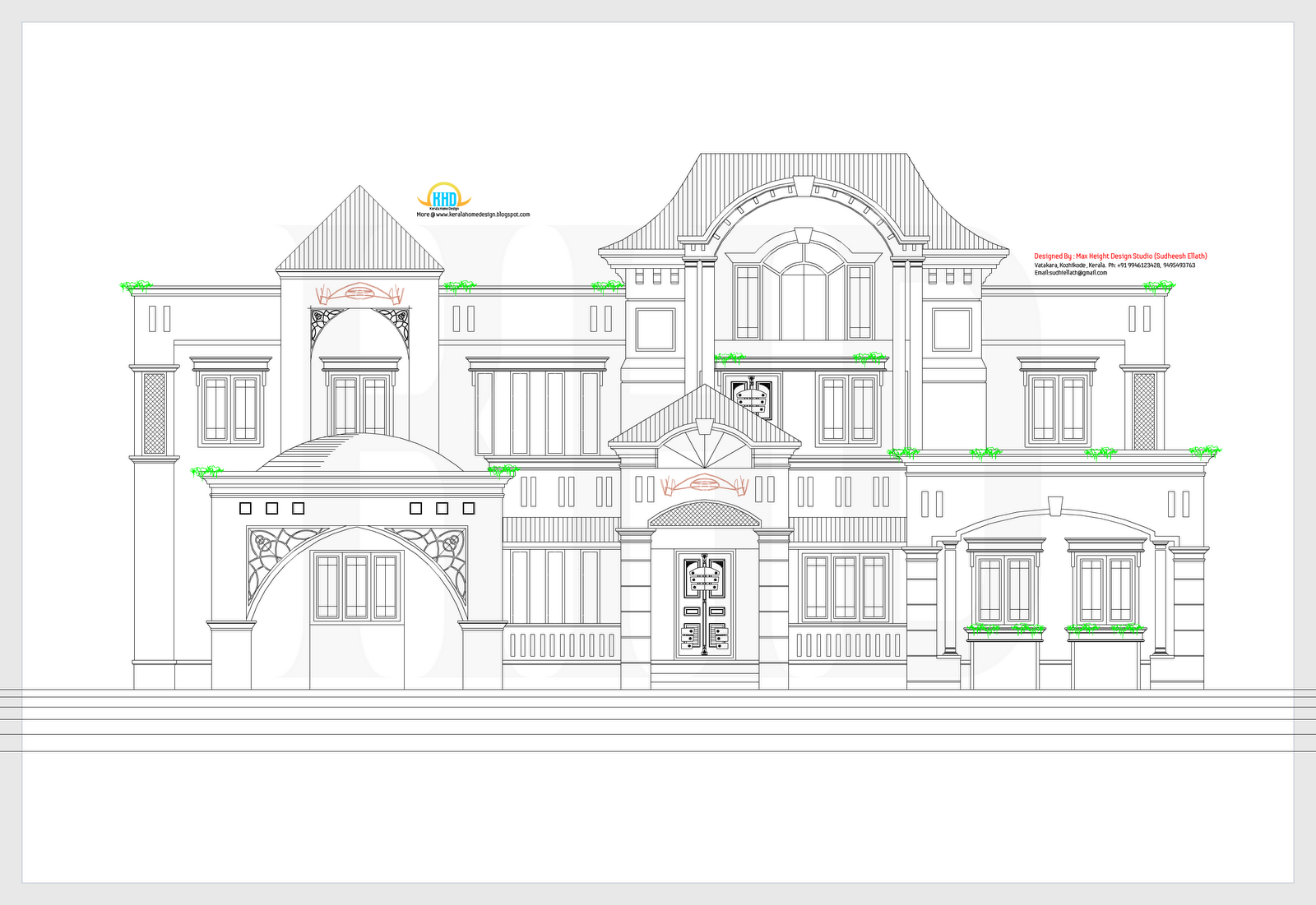 2D elevation and plan of 4bhk luxury house - 4198 sq. ft ...