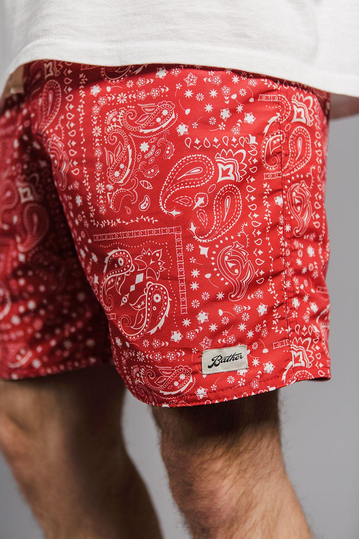 1955763de8 Bather SS17 Red Bandana Print Swim Shorts and Board Shorts