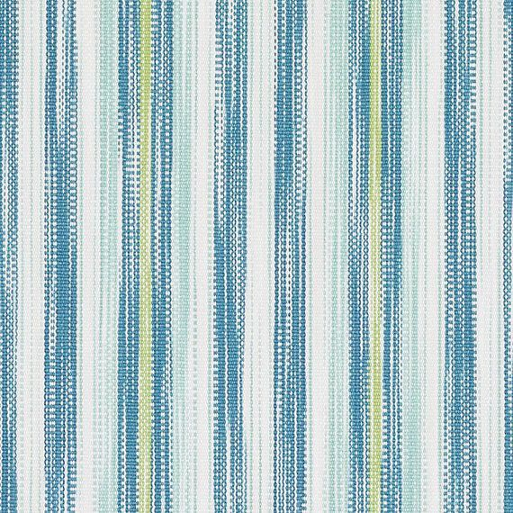 Turquoise White Woven Striped Upholstery Fabric Aqua Yellow