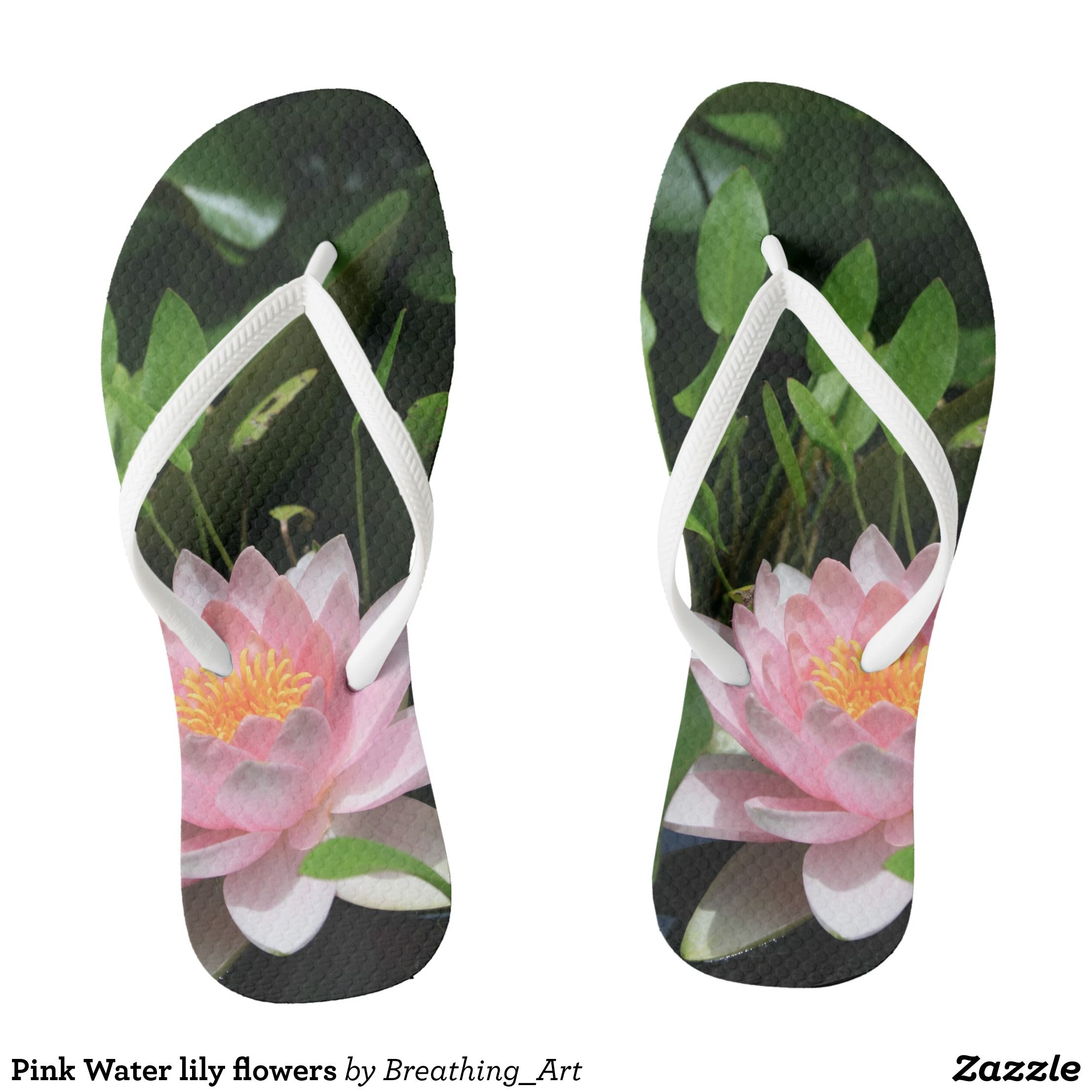 Pink Water Lily Flowers Flip Flops Lilies Flowers
