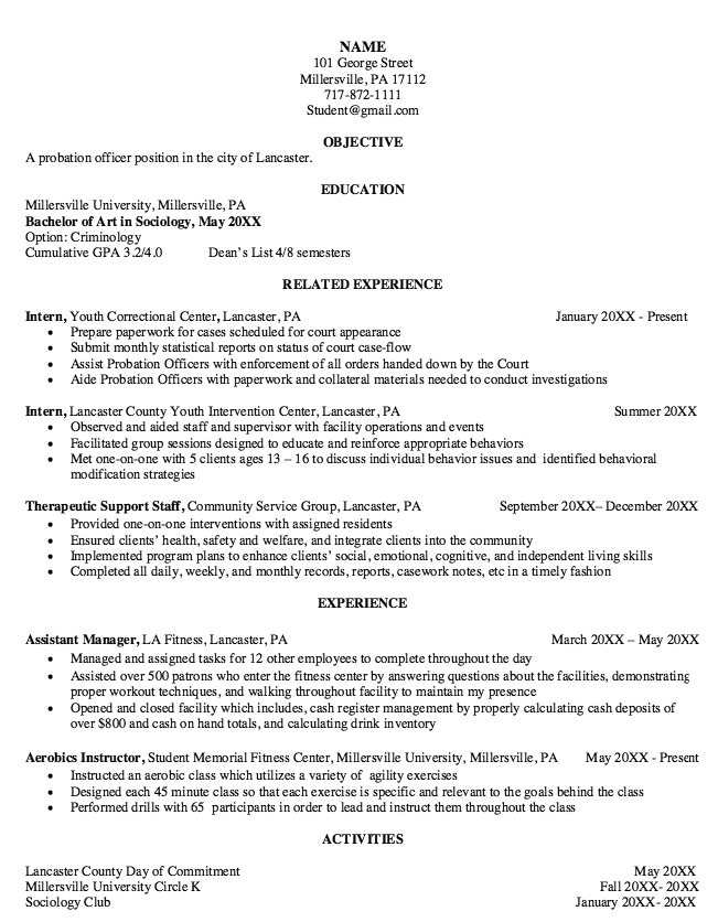 parole officer resume