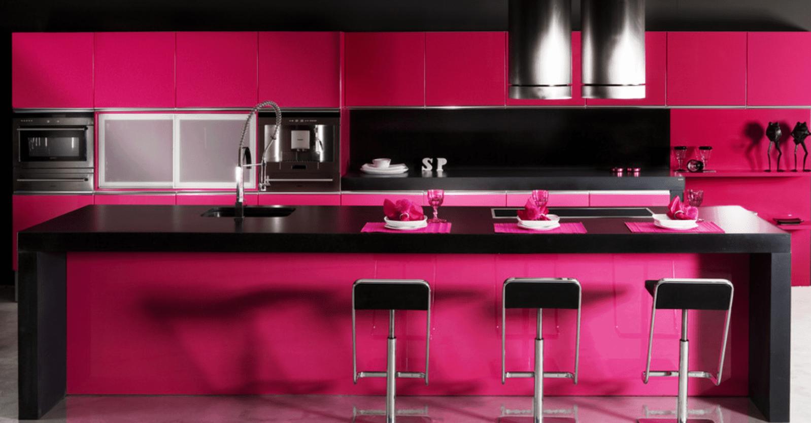20 Pink Kitchen Ideas Photos In 2020 Pink Kitchen Hot Pink Kitchen Quartz Kitchen Countertops