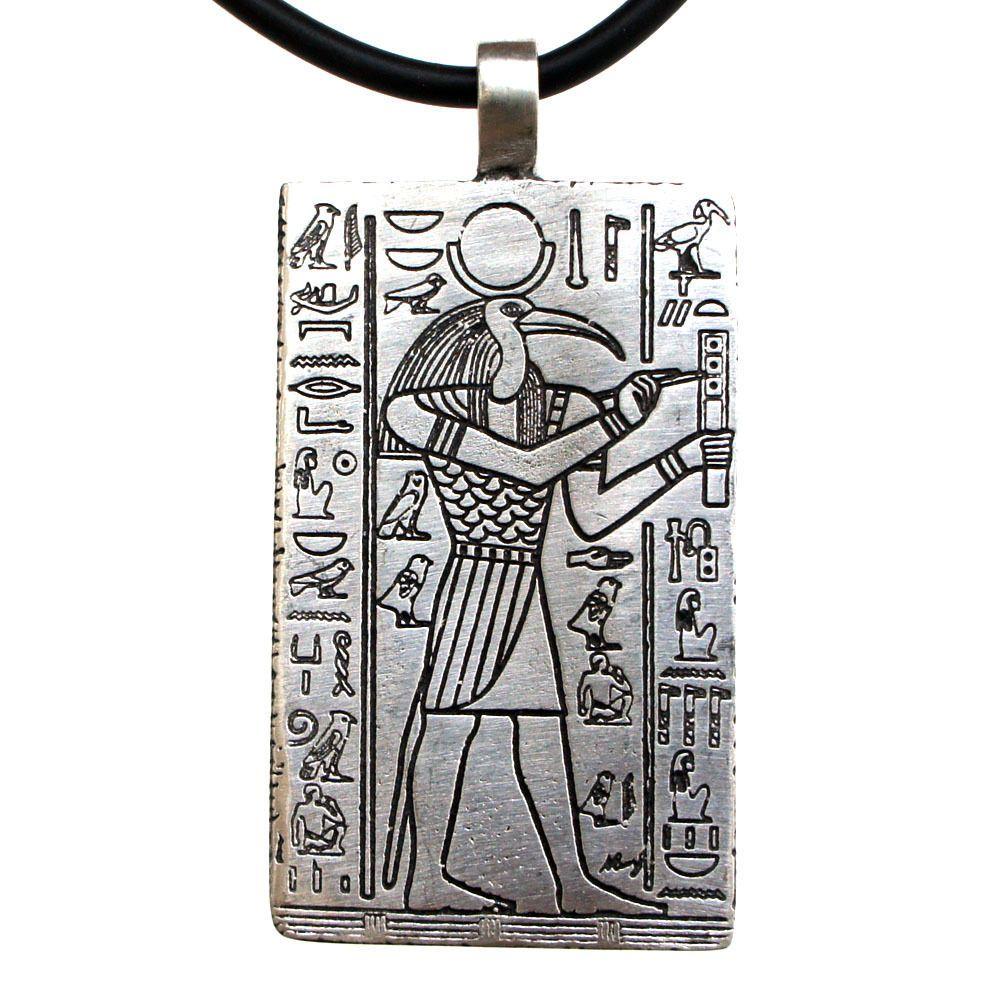 c94fc663b86 Thoth Egyptian Moon Deity The God of Knowledge Pewter Pendant W Black PVC  Cord  Handmade  Pendant