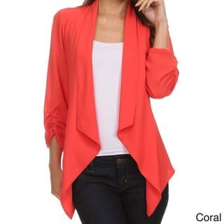 2465ab8024e7 MOA Collection Women's Plus Size Draped Front Cardigan (Coral-2XLARGE),  Orange (polyester, solid)