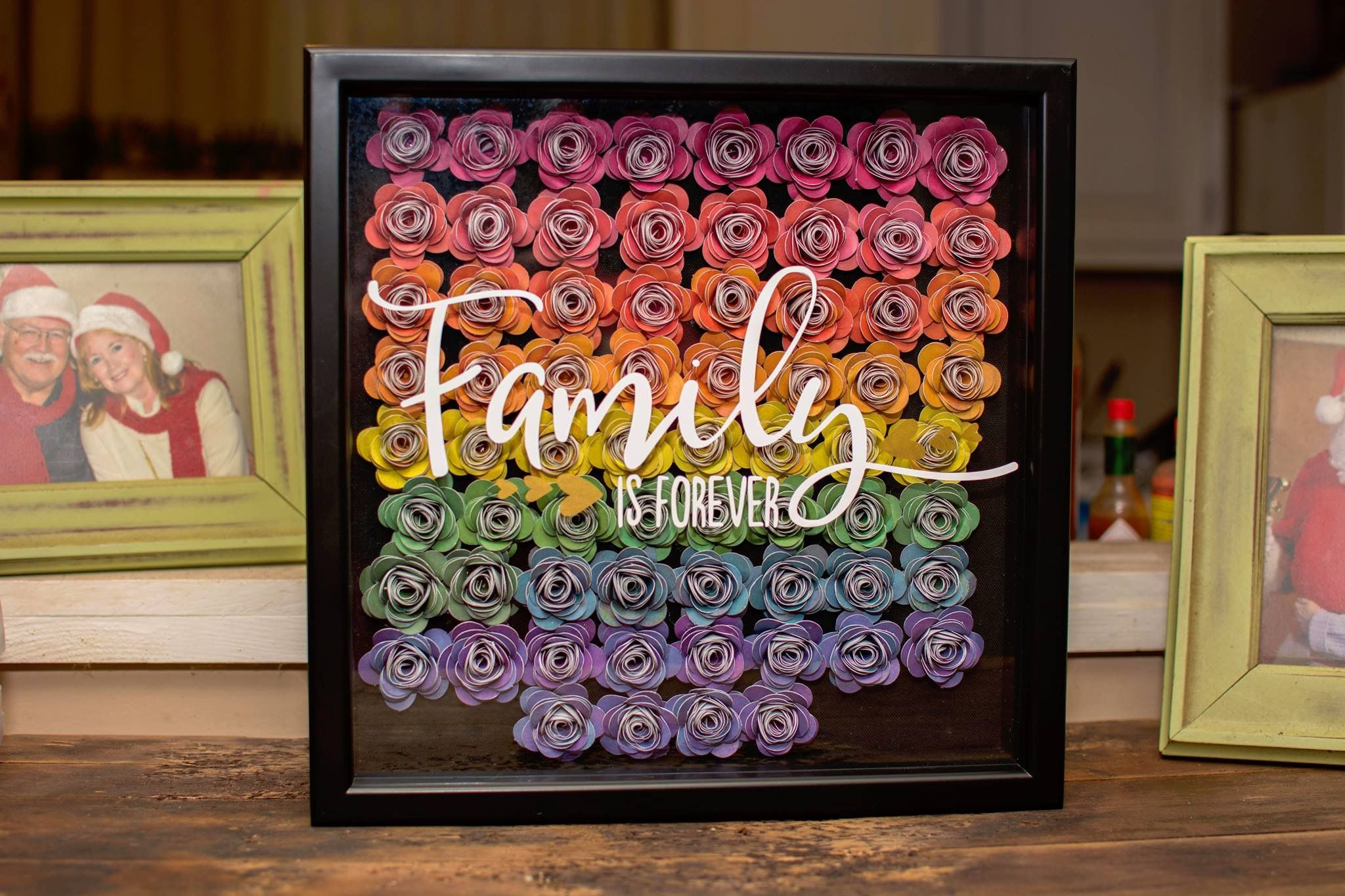 Diy flower vinyl shadow box shadow box frame