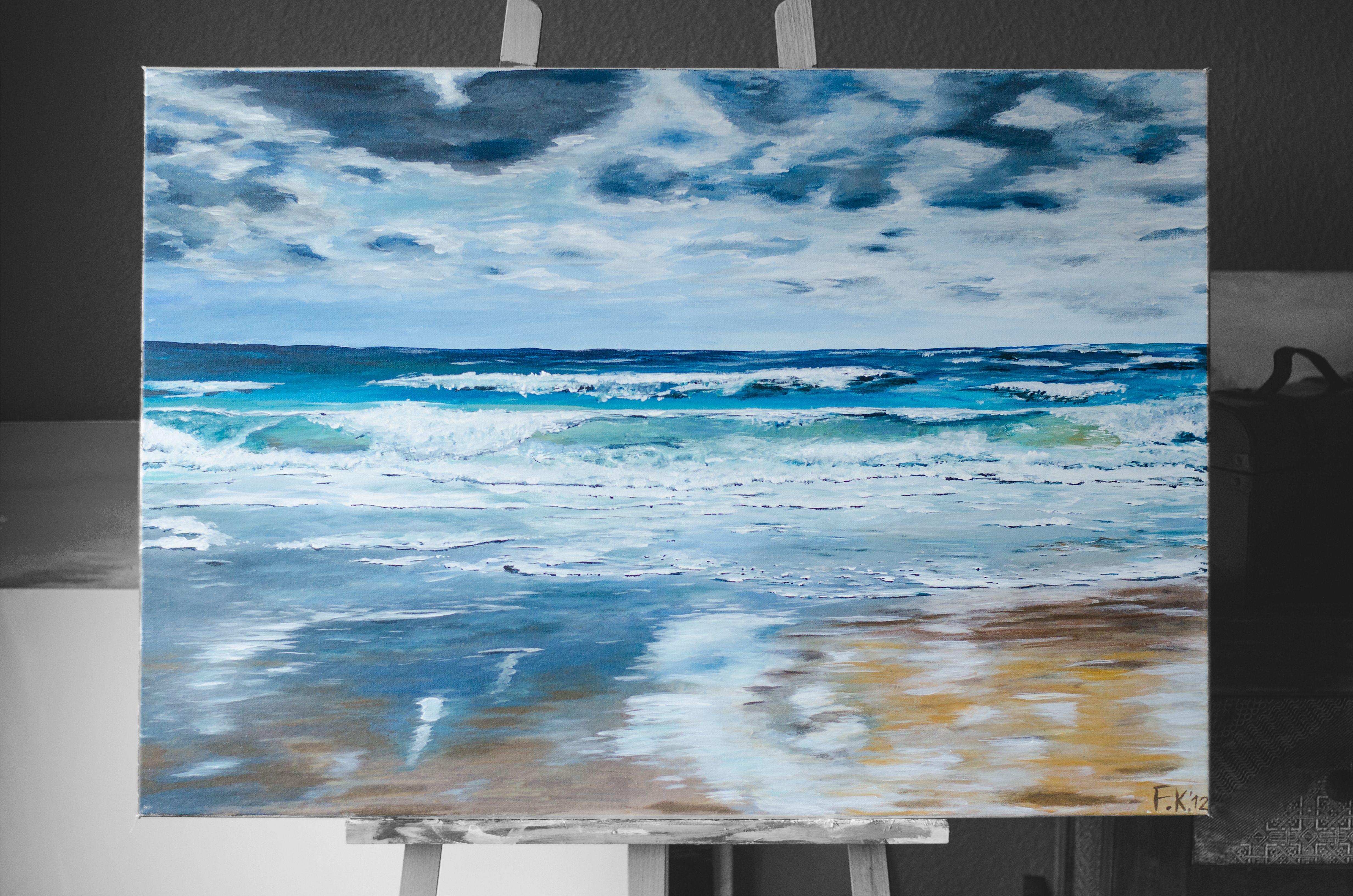 Der Strand vor Westerland festgehalten auf 90 x 70 cm, Acryl auf Leinwand.  Noch erhältlich.