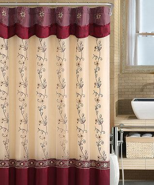 Burgundy Gold Daphne Shower Curtain