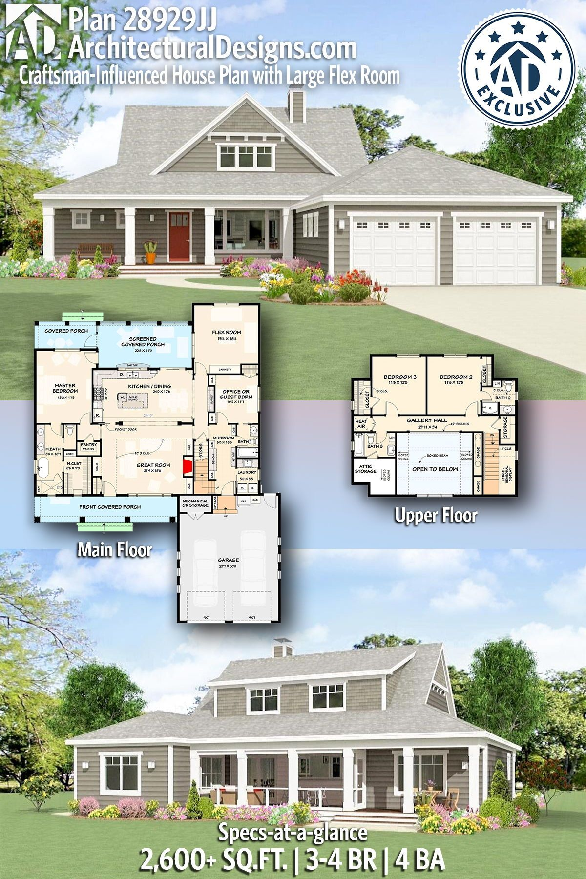 Plan 28929jj Craftsman Influenced House Plan With Large Flex Room Affordable House Plans Craftsman House Plans House Plans