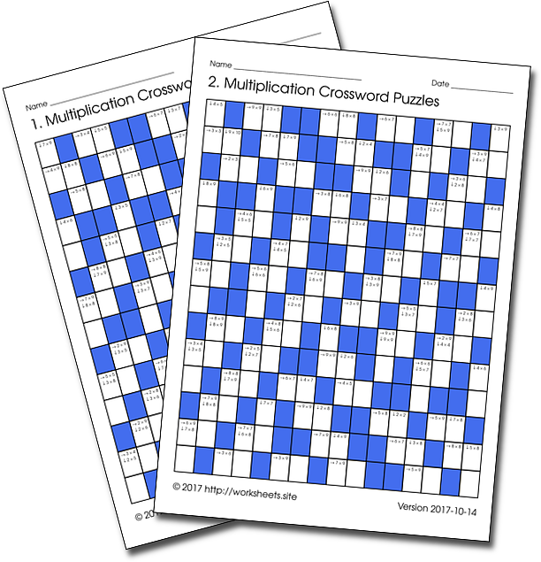 50 Pages Of Printable Crosswords Of Multiplication Tables Facts In