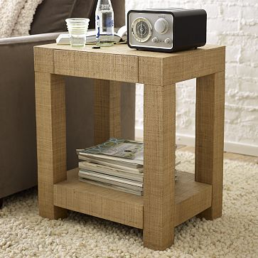 Parsons End Table Natural Grass Cloth On Westelmcom For The - West elm parsons end table