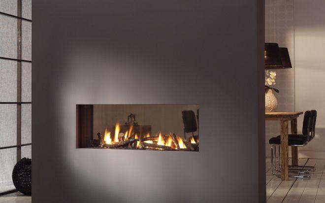 Helex tunnelhaard i frame 10038 open haarden idee n uw for Double sided open fireplace