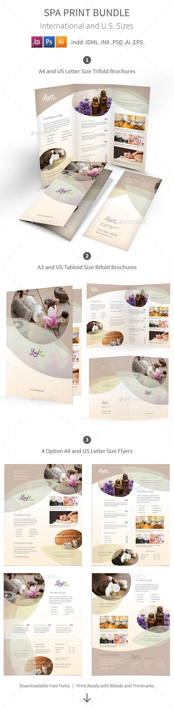 Spa Print Bundle 5 by Mike_pantone Spa Print Bundle 5 Clean and modern print bundle for your spa and beauty care center business.What is in this bundle: (Click on ea