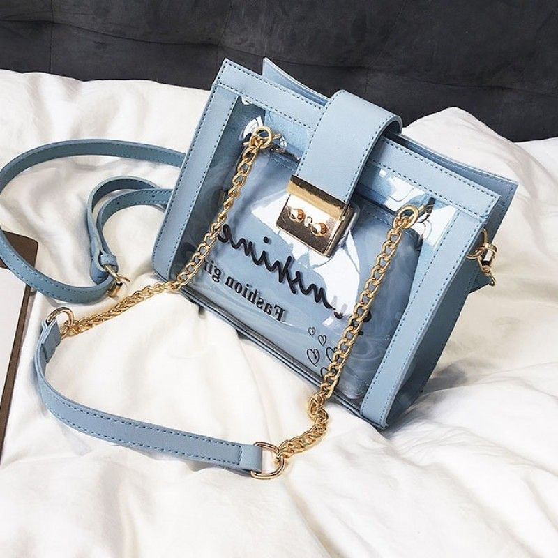 13f69a89d9046e Blue Clear Bag Shoulder Handbags with Chain #bag #outfitoftheday  #lookoftheday #fashionblogger #photooftheday #pvc #bucketbag #clearbagtrend  #pvcbag ...
