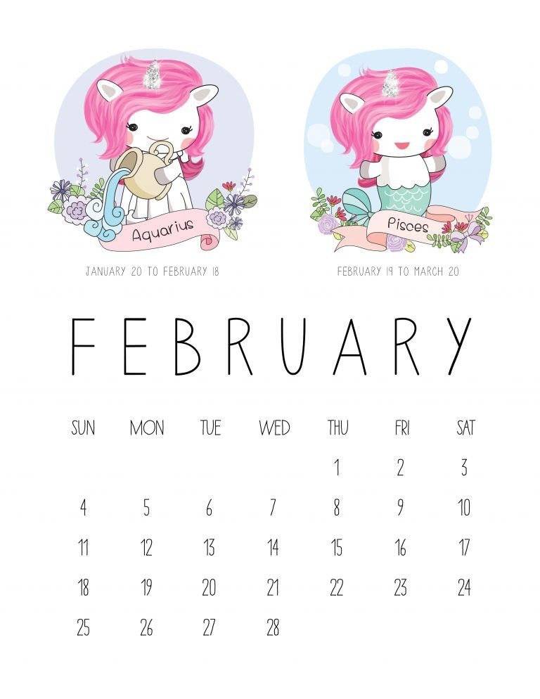 Free Printable  Zodiac Sign Kawaii Unicorn Calendar  Zodiac