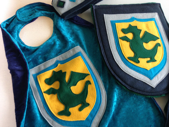 Dragon Cape TEAL and NAVY Super Cape Birthday by TheTreeHouseKid