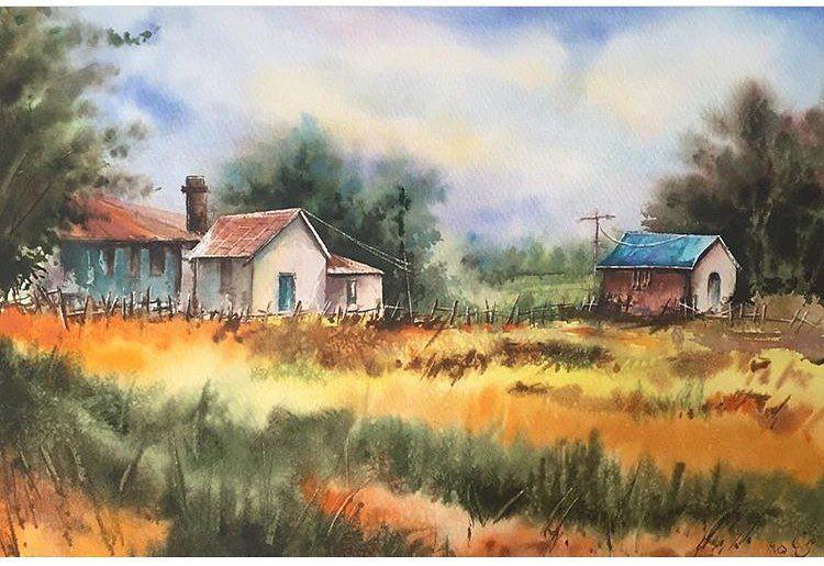 طراحی نقاشی خانه روستایی