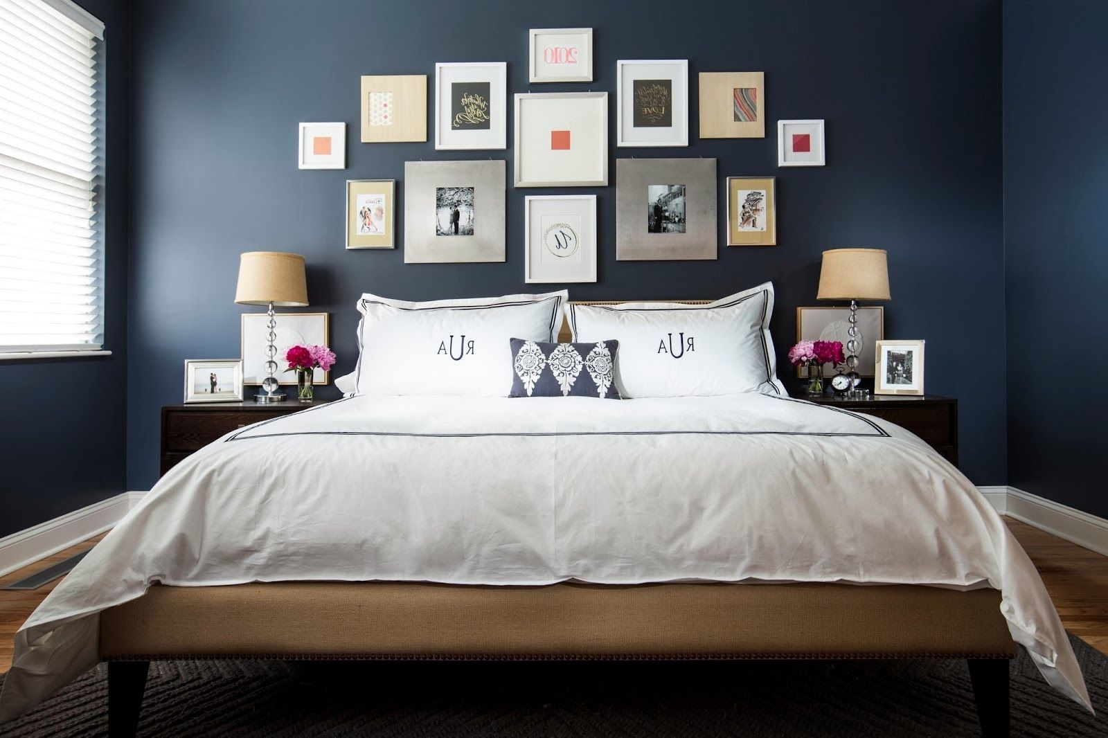 Explore Gallery Of Fabric Wall Art Above Bed 2 Of 15 Dark Blue Bedrooms Blue Bedroom Decor Blue Bedroom Walls