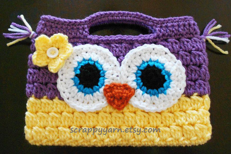 free crochet owl purse patterns - Google Search | Crochet owls ...