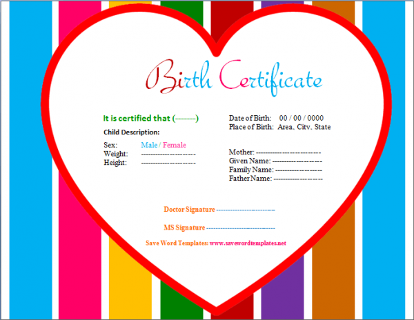 Doc.#528408: Birth Certificate Template For Microsoft Word – Birth