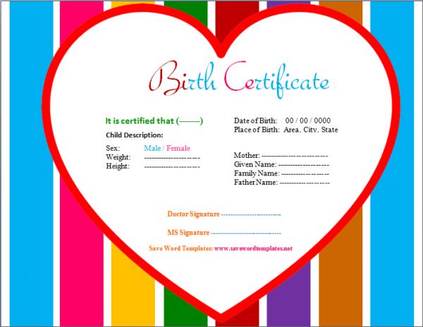 Heart Design Birth Certificate Template – Birth Certificate Template for Microsoft Word