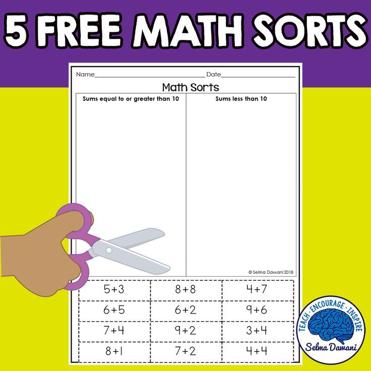 Math sorts for kindergarten. Students will cut and paste the ...