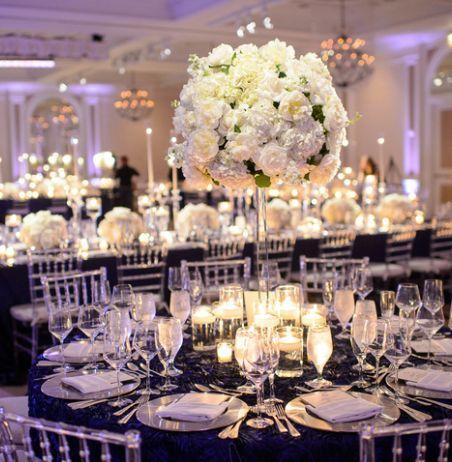 White Floral Ballroom Wedding Reception Centerpiece - MODwedding