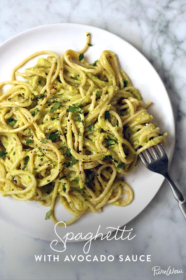 Spaghetti With Avocado Pasta Sauce Recipe Avocado Recipes Recipes Healthy Recipes