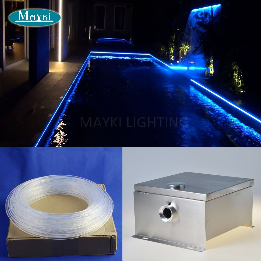 20m side glow fiber optic cable IP 43 DMX multi color change Cree 80W LED  outdoor fiber optic pool light for perimeter lighting