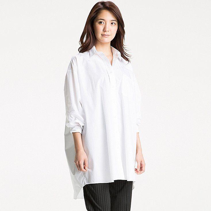974b369541a Women extra fine cotton oversized long sleeve long shirt