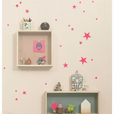Planche de stickers Etoiles - rose fluo