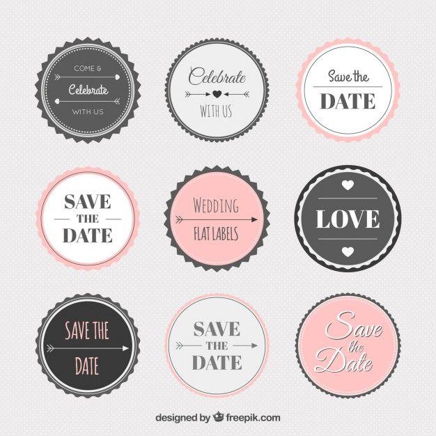 Vintage wedding sticker collection Free Vector Wedding Wedding