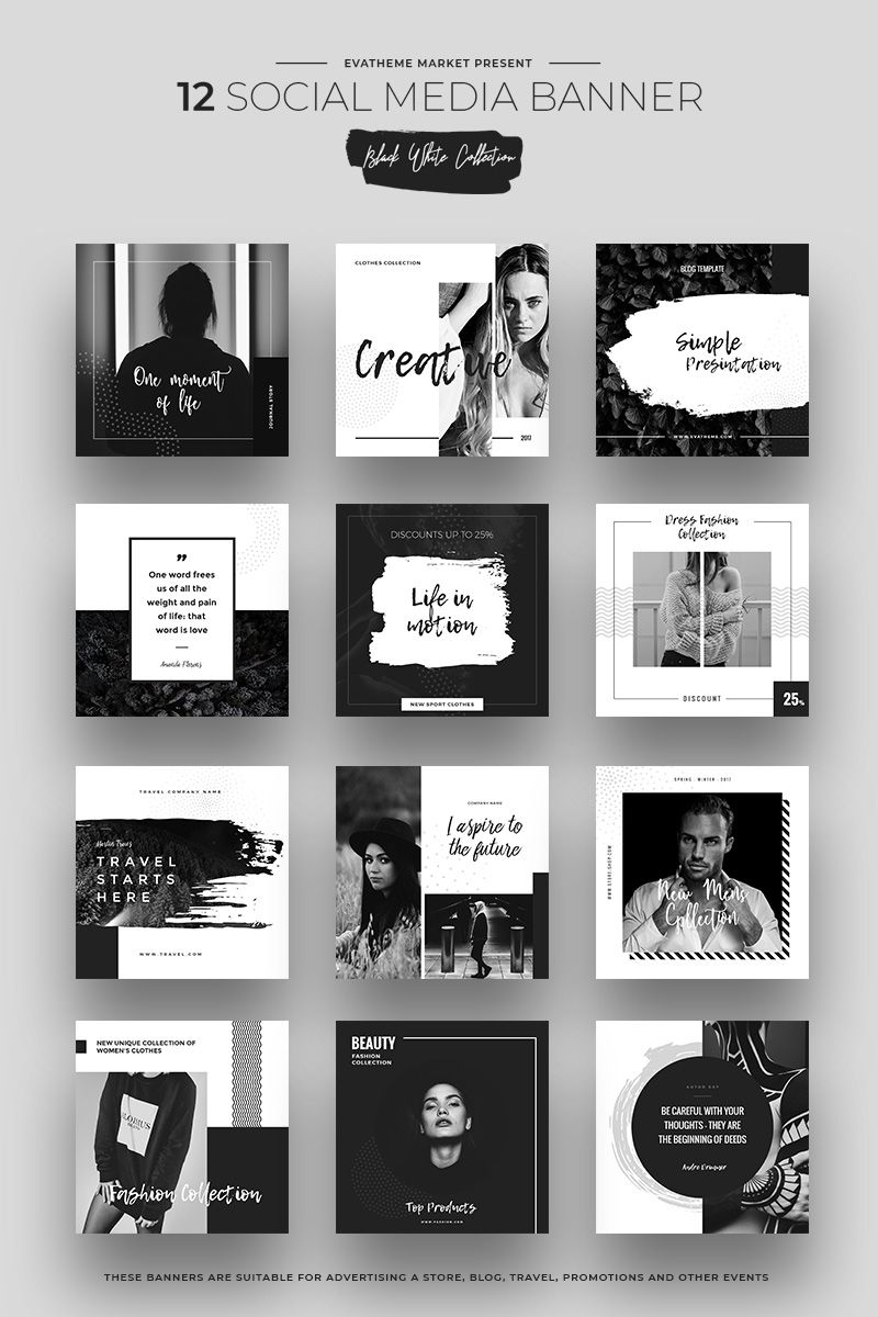 Black & White #SOCIALMEDIA Designs PSD #Template | Email Blast ...